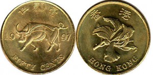 монета гонконга 50 центов