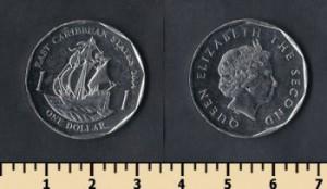 монета гренады 1 доллар восточно-карибский