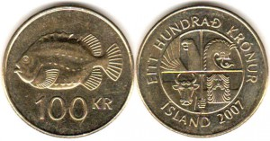 монета исландии 100 крон