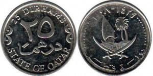 монета катара 25 дирхамов