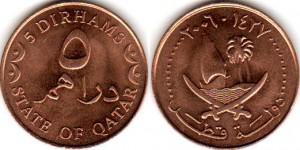 монета катара 5 дирхамов