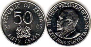 монета кении 50 центов