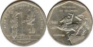 монета колумбии 10песо