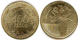 монета колумбии 100песо