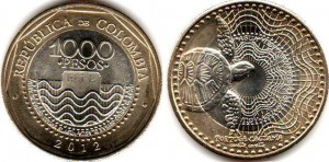 монета колумбии 1000песо