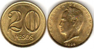 монета колумбии 20песо5