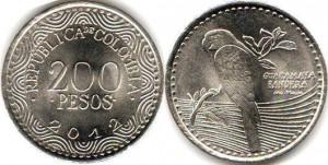 монета колумбии 200песо