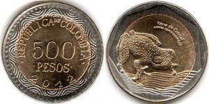 монета колумбии 500песо