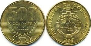 монета коста-рика 500 колонов