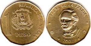 монета 1 доминиканский песо