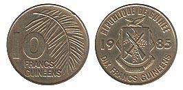 монета 10 гвинейск франков