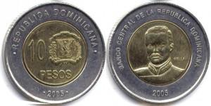 монета 10 доминиканских песо