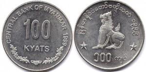 монета 100 кьят мьянма