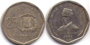 монета 25 доминиканских песо