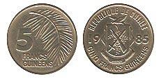 монета 5 гвинейск франков