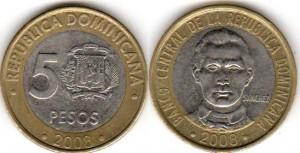 монета 5 доминиканских песо