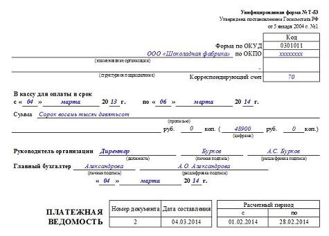 титульный лист платежной ведомости