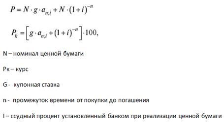 Формула расчёта полной доходности облигации 4