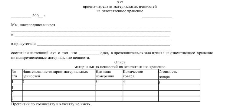 Передача товара на ответственное хранение документы, ответхранение проводки