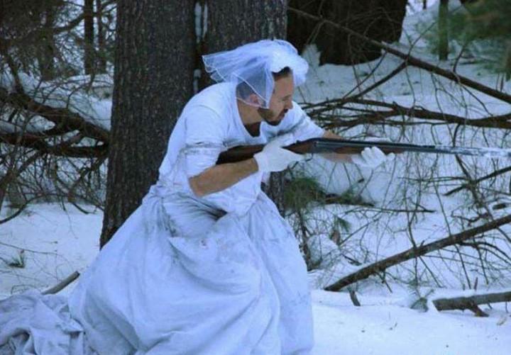 Платье жены - маскировка на зимней охоте
