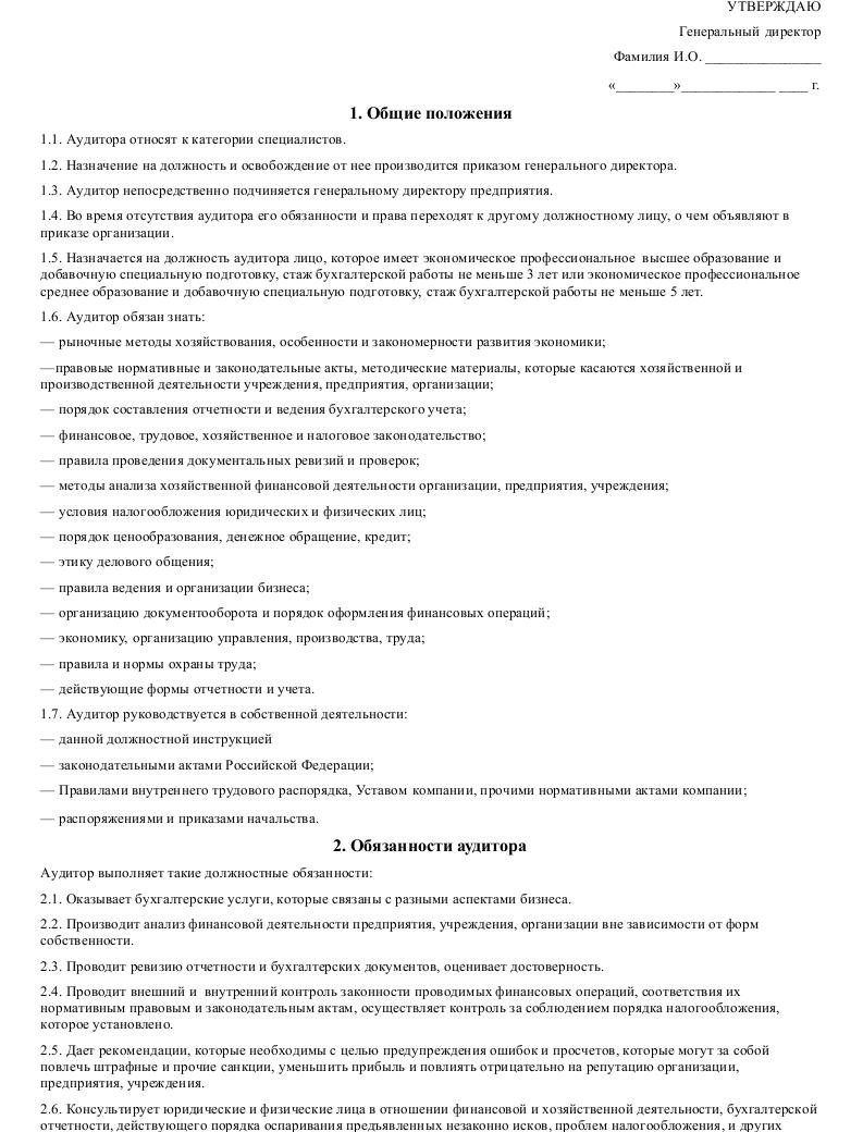 Должностная инструкция аудитора _001