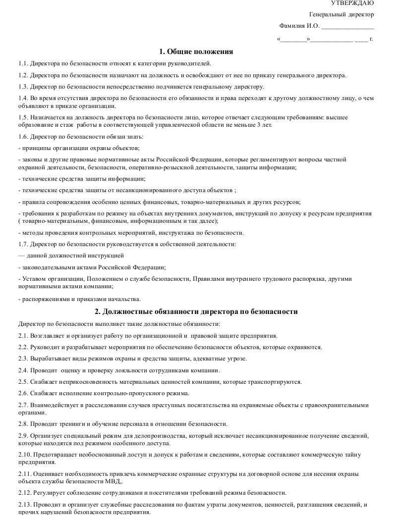 Должностная инструкция  директора по безопасности_001