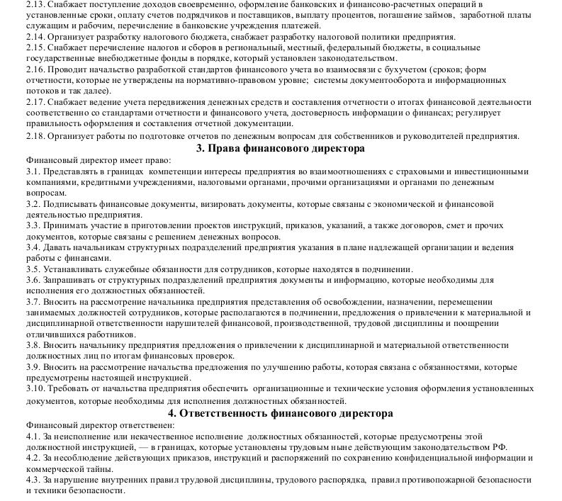 Должностная инструкция финансового директора_002