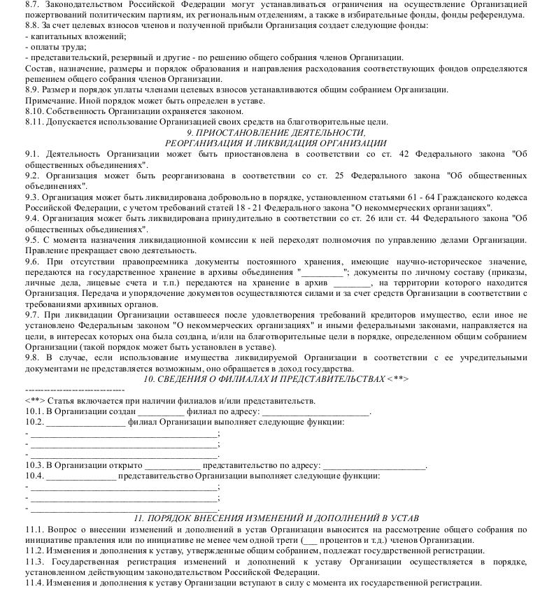 Образец устава региональной общественной организации, подлежащей государственной регистрации_006