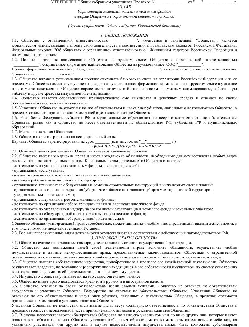 Устав Консалтинговой Компании образец