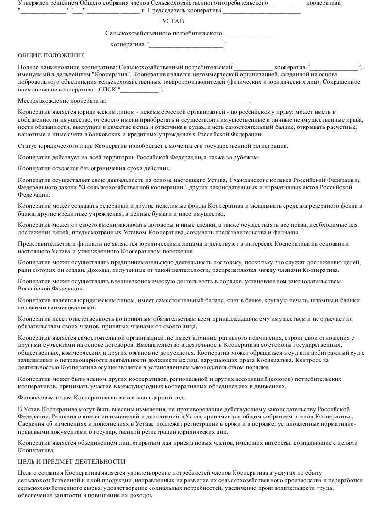 Образец устава с.х.потребит кооператива в формате.doc_001