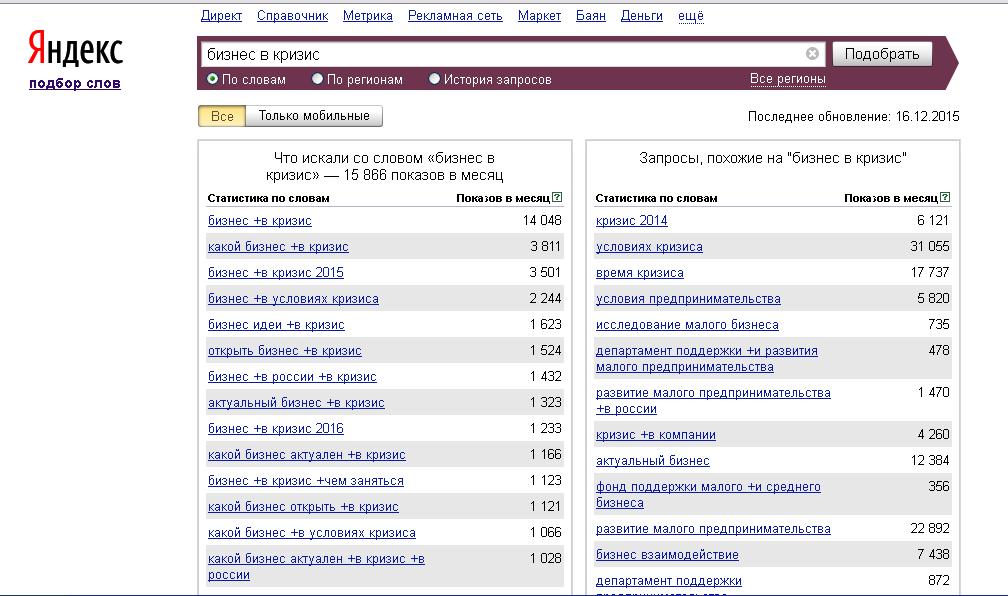 Поиск ключевых слов через Yandex Wordstat