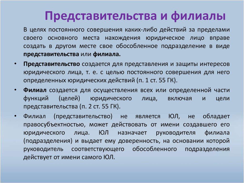 Филиалы и представительства юридических лиц