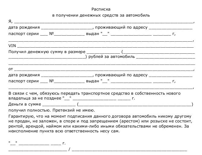 Расписка за получение денег за автомобиль при продаже