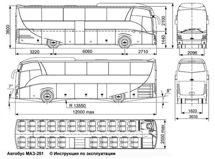 Схема туристического автобуса
